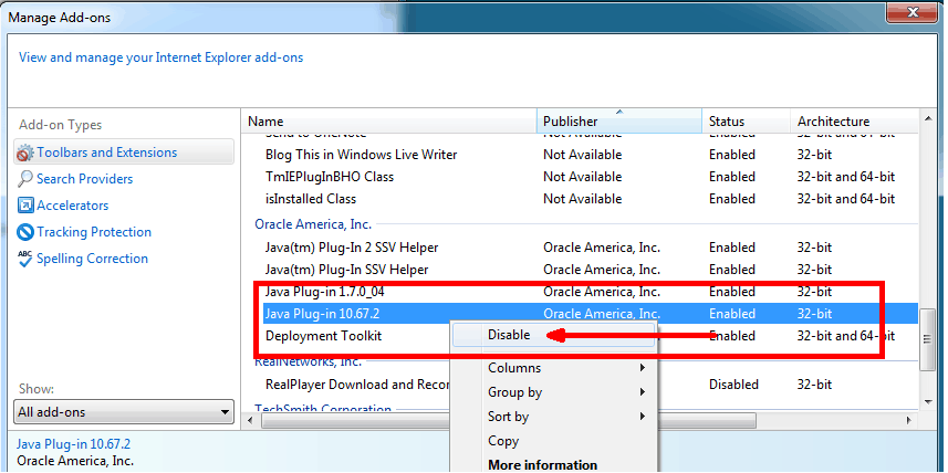 How to enable and disable Java in Internet Explorer | THKB
