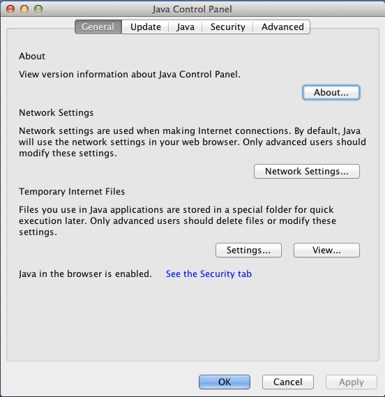 Java Control Panel on Mac