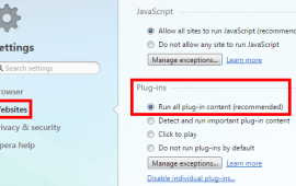 How to enable and disable Java in Opera