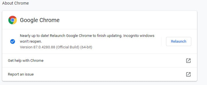 Nearly up to date! Relaunch Google Chrome to finish updating