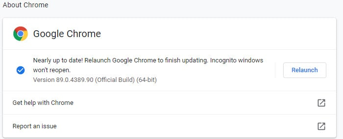 Nearly up to date! Relaunch Google Chrome to finish updating.