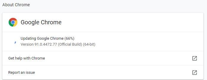 Updating Google Chrome