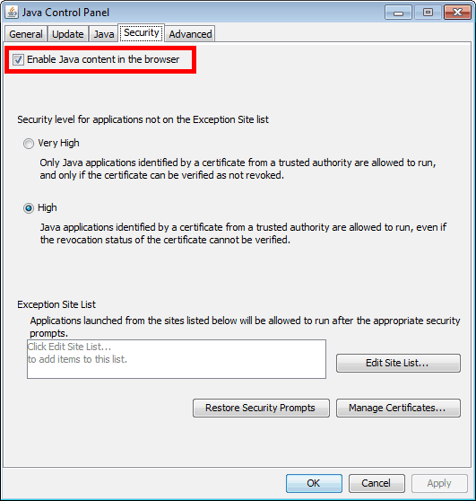 disable Java in Internet Explorer