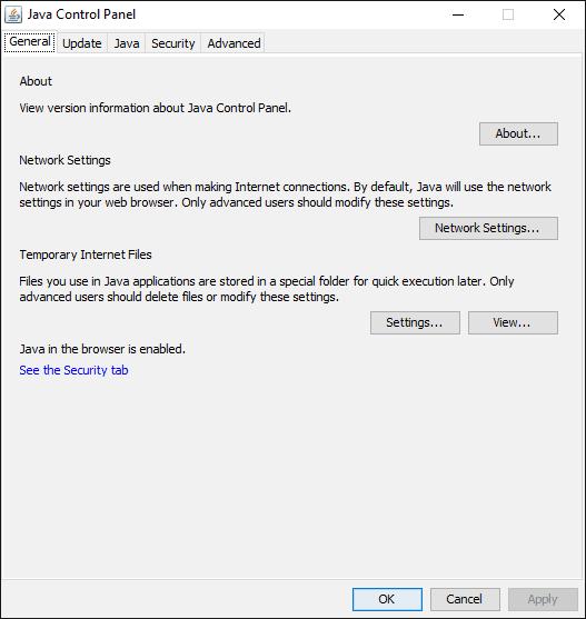Java Control Panel on Windows