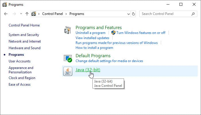 How to locate the Java Control Panel on Windows