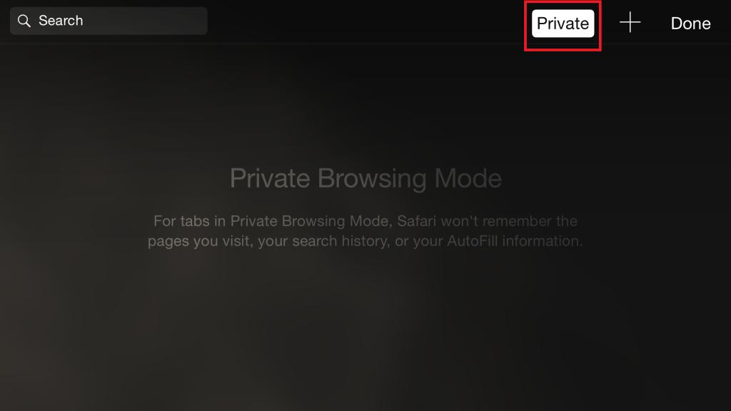 private browsing in Safari on iOS