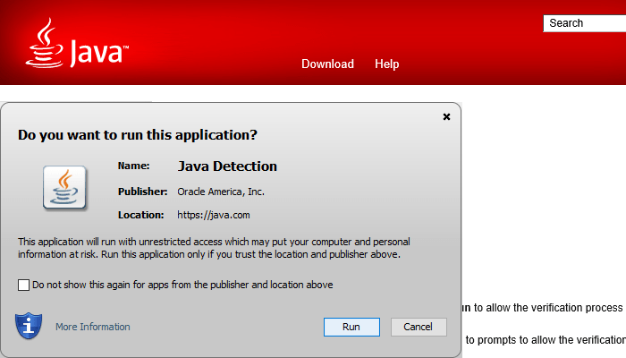 "I see a ""Do you want to run this application?"" Java security warning"