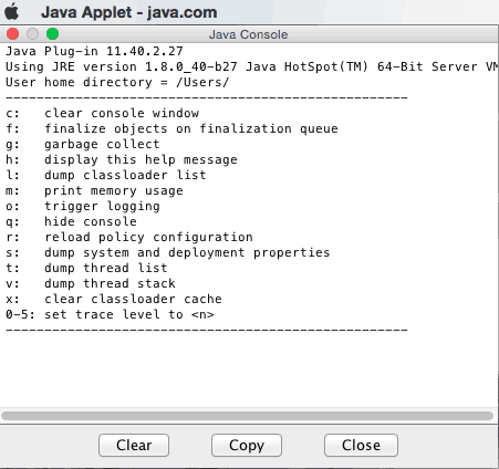 enable the java console on Mac