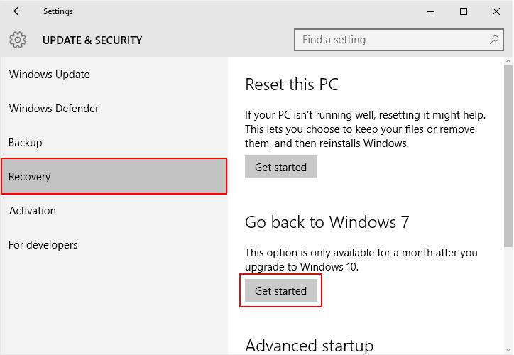 how to downgrade windows 10