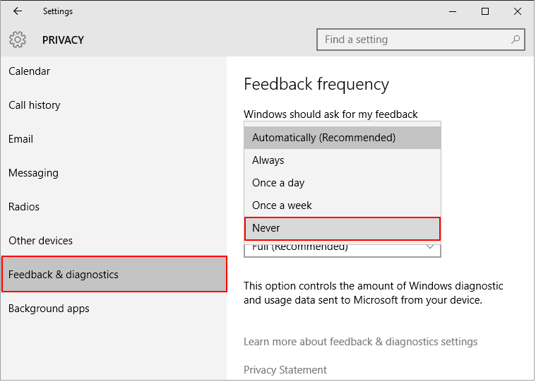 turn off feedback in Windows 10