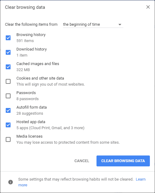 clear Chrome history and cache