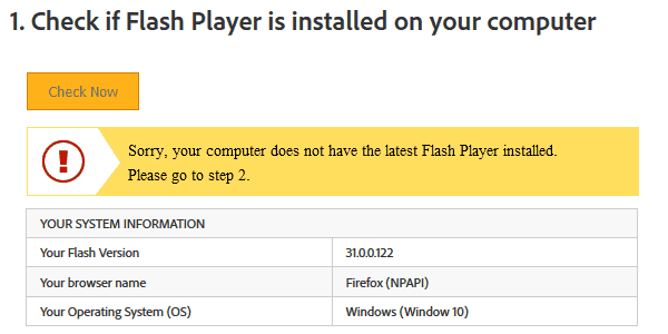 which Flash Player version is installed