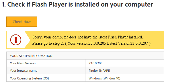 Adobe Flash Player update and removal