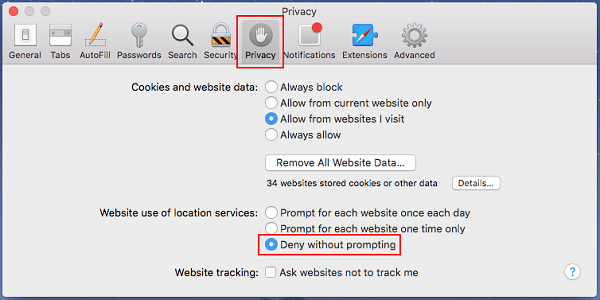 disable Mac OS X location services