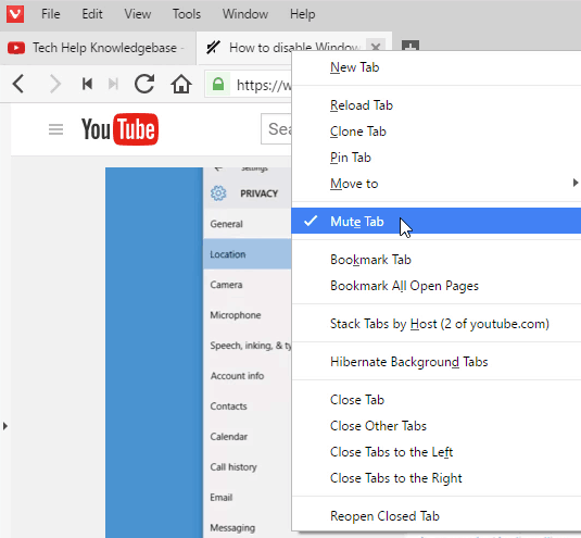 mute tabs in Vivaldi browser