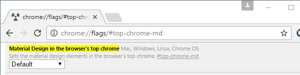 disable Material Design in Chrome
