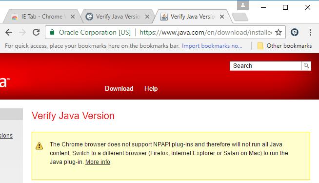Java in Chrome on Windows 10