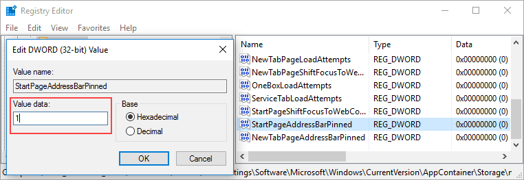 affix the Microsoft Edge address bar