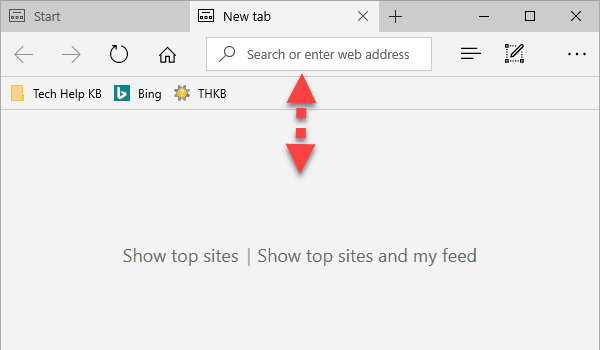 affix the Microsoft Edge address bar