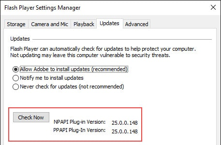 enable automatic Flash Player updates