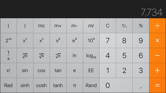backspace on your iPhone calculator app
