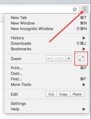 enter full screen mode in Chrome