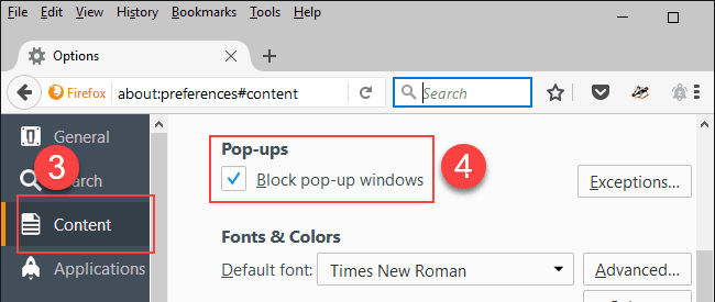 block pop-ups in Firefox