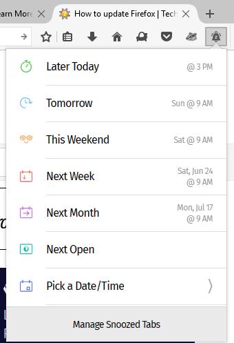 snooze tabs in Firefox