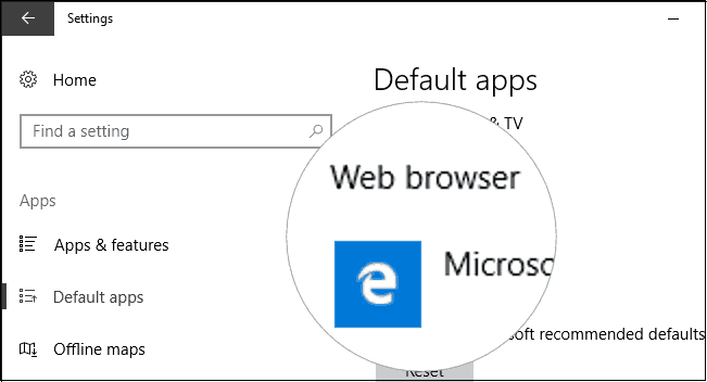 change the default Windows 10 web browser app