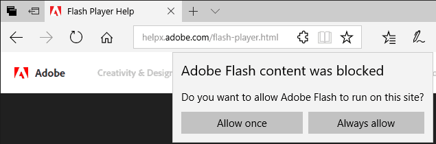 manage Flash Player in Microsoft Edge