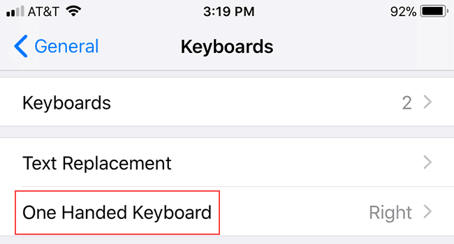 access the iOS 11 one-handed keyboard