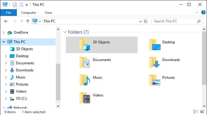 hide the Windows 10 3D Objects folder