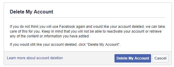 delete your Facebook account