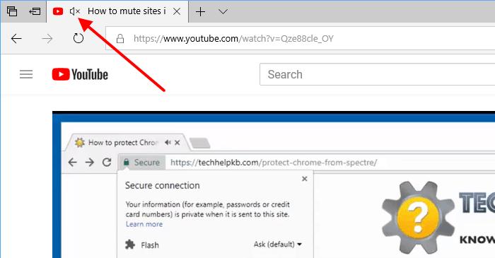 mute tabs in Microsoft Edge browser