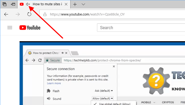 mute tabs in Microsoft Edge browser