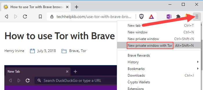 launch New private window with Tor