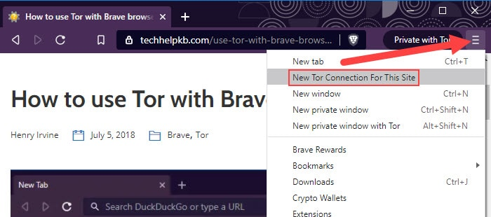 New Tor connection for this site