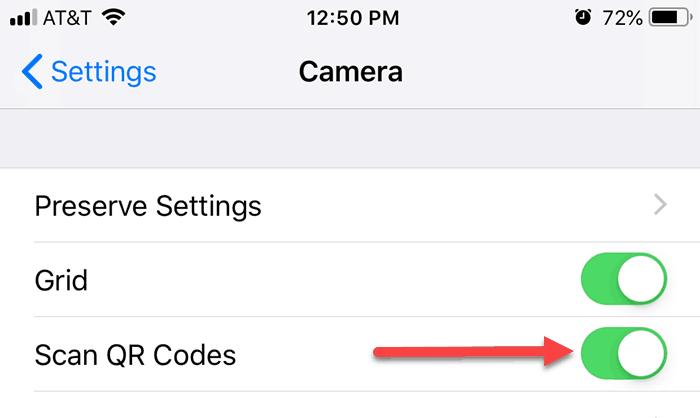 iOS 12 QR Code reader