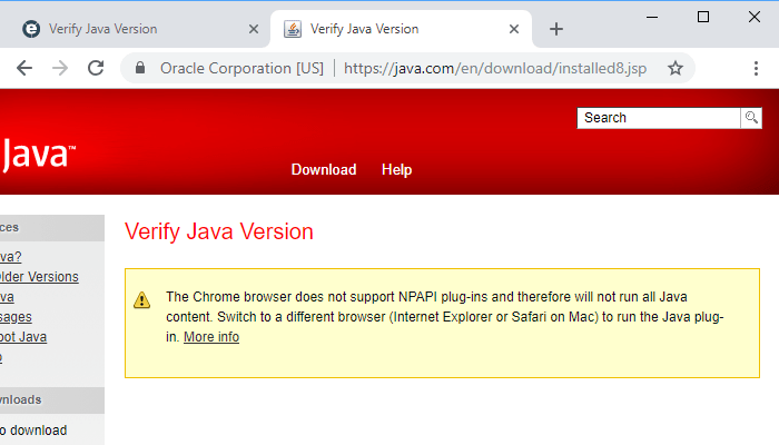 Java support in Google Chrome