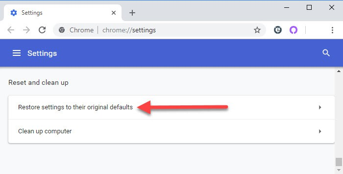 Restore settings to their original defaults