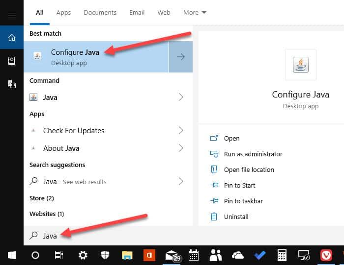 Search Java click Configure Java