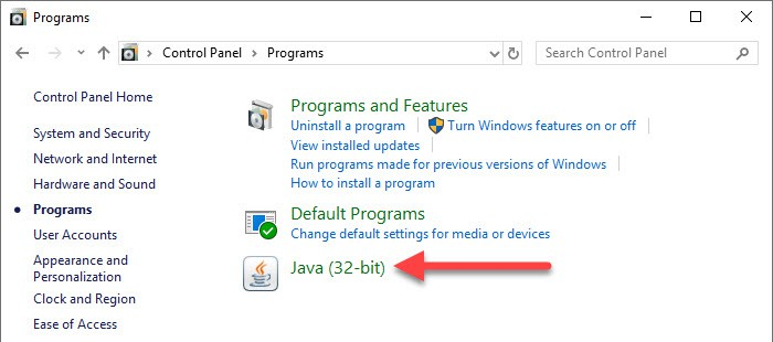 Java in Windows Control Panel