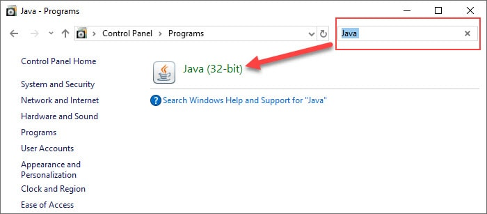search the Windows Control Panel for Java
