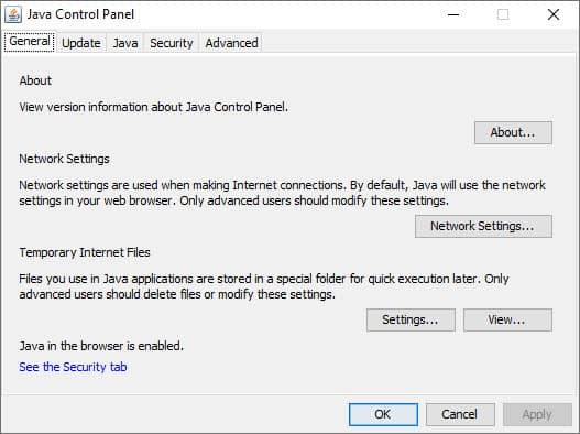 Where is the Java Control Panel on Windows? | THKB