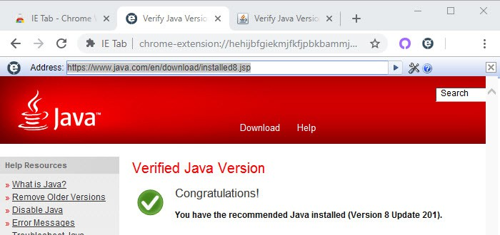 You have the recommended version of Java