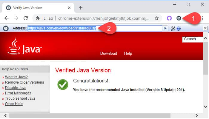 Java verification in Chrome using IE Tab