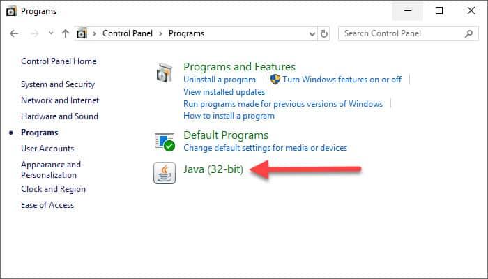 Java program in Control Panel