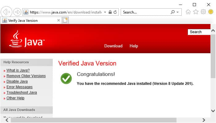Java verification in Internet Explorer