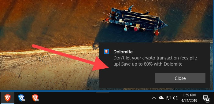 Ads display in your computer's notification area