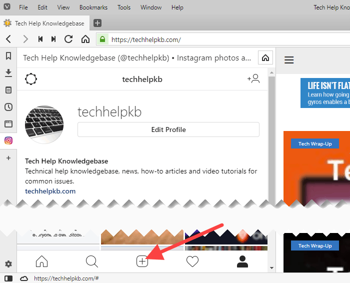 Click the plus sign button to upload your photo to Instagram